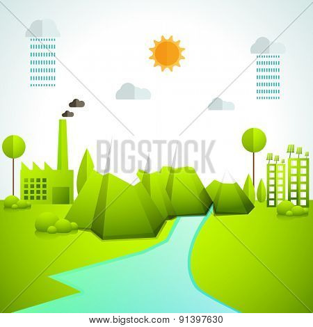 Creative ecosystem based infographic elements layout with view of a city.