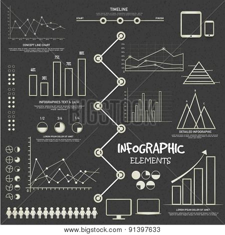 A big set of various business infographic elements for your professional reports and financial data presentation.