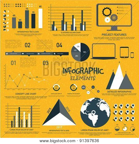 Various statistical infographic elements presentation for your business and corporate sector.