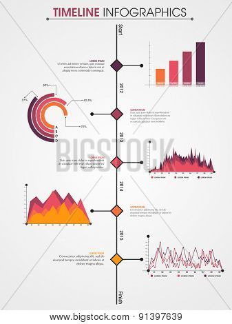 Set of creative timeline statistical infographic elements on grey background for your business reports and yearly financial growth presentation.