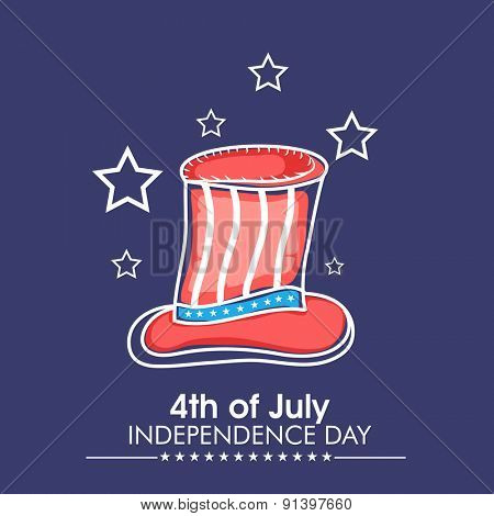 4th of July, American Independence Day celebration with illustration of creative long hat on stars decorated blue background.