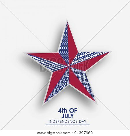 4th of July, American Independence Day celebration with creative floral design decorated star on grey background.