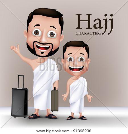 Realistic Muslim Man Character Performing Hajj or Umrah