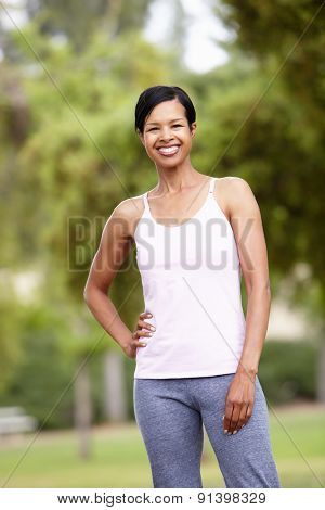 Fit, active woman in park