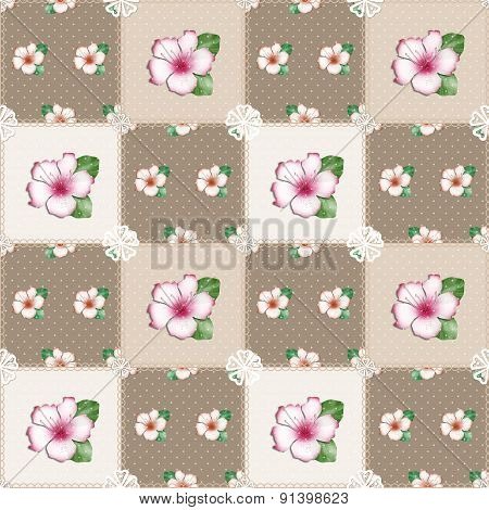Patchwork Seamless Floral Azalea Pattern Beige Background