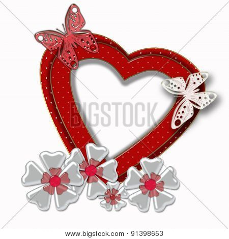 Abstract Background Red Heart Frame On White