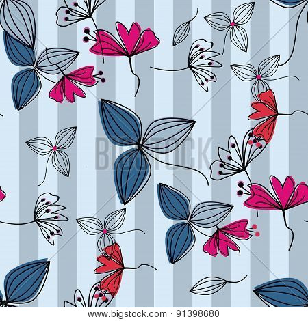 Flowers Cute Cartoon Seamless Pattern Background