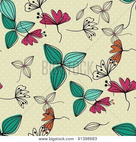 Flowers Seamless Pattern. Simple Background.