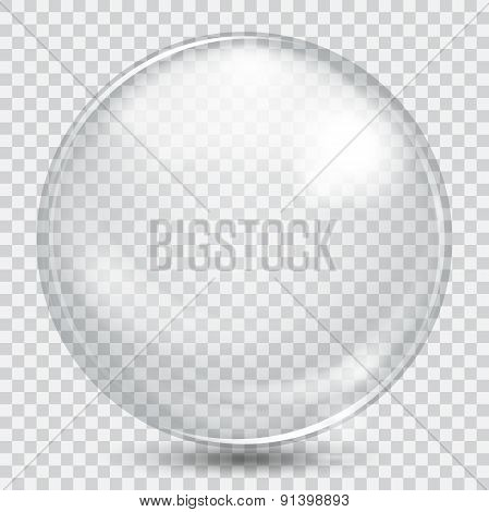 Big White Transparent Glass Sphere