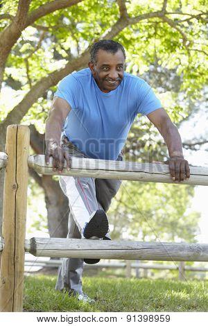 Senior African American Man Exercising In Park