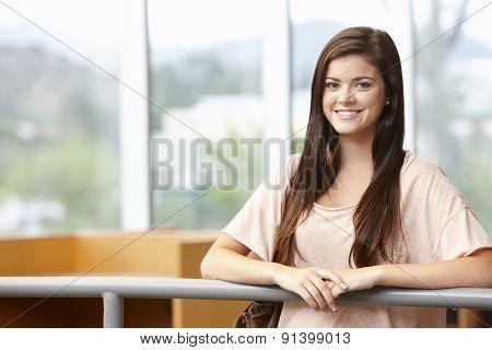 Teenage student girl indoors
