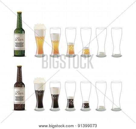Bottles of dark and light beer with glasses icons isolated on white