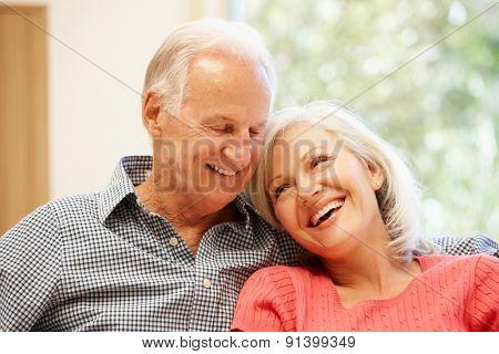 Senior man and daughter at home