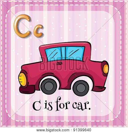 Flashcard letter C is for car