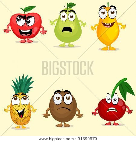 Funny fruit characters like apple, pear, papaya, pineapple, kiwi and cherry with different facial expressions.