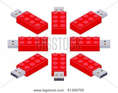 Isometric USB flash-drive in a shape of the constructor brick