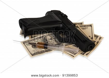 Money, gun and drugs