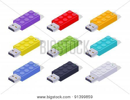 Isometric colored USB flash-drives in a shape of the constructor bricks