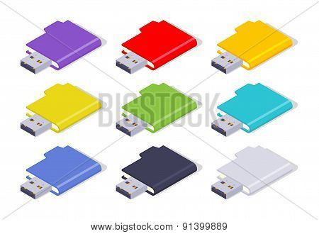 Isometric colored USB flash-drives