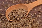 foto of cumin  - Cumin seeds in a wooden spoon close up - JPG