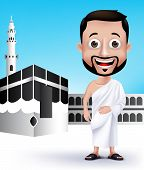 picture of kaaba  - Realistic Muslim Man Character Wearing Ihram Cloths for Performing Hajj or Umrah Pilgrimage in Kaaba in Makkah with Black Stone in Background - JPG