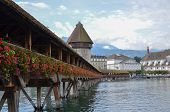 foto of chapels  - The ancient Chapel Bridge in Lucerne - JPG