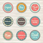 Vintage labels: original, deal of day, authentic, free, handmade poster