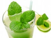 pic of mojito  - Close up of Mojito cocktail isolated on white background - JPG