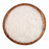 picture of salt mine  - Salt in a wooden bowl on a white background - JPG