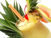 stock photo of pina-colada  - Pina Colada cocktail isolated on white background - JPG