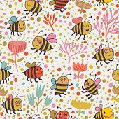 Bright spring seamless pattern - lovely lees and flowers. Seamless pattern can be used for wallpaper