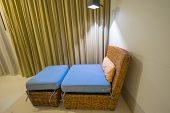 pic of curtain  - Rattan furniture indoor  at home with curtain - JPG