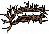 foto of thorns  - A hand drawn doodle drawing of a crown of thorns - JPG