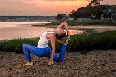 pic of tantric  - Female Yoga Model Eka Pada Rajakapotasana Mermaid Pose Beach - JPG