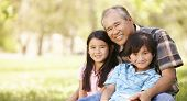 pic of grandfather  - Portrait Asian grandfather and grandchildren in park - JPG