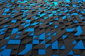 picture of fi  - Abstract 3d rendering of black and blue futuristic surface with triangles - JPG