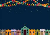 image of church  - Latin American holiday the June party of Brazil bright night the background with colonial houses church lights and colored flags - JPG