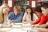 image of 16 year old  - Group of students working together in library - JPG