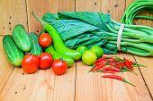 stock photo of farmers market vegetables  - Fresh farmers market vegetable on wooden background - JPG
