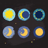 stock photo of moon stars  - Sun moon vector crayon style icon set grunge illustration with eclipse stars and fool moon sign - JPG