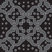pic of symmetry  - Seamless symmetry of gray shapes over black - JPG