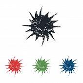 stock photo of starburst  - Colored grunge icon set with image of starburst - JPG