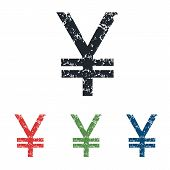 pic of yen  - Colored grunge icon set with image of yen - JPG