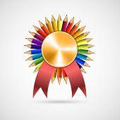 stock photo of rosette  - Education pencil award rosette with ribbon - JPG