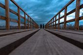 image of thunder-storm  - the wooden bridge in one party before the coming nearer thunder storm  - JPG