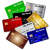 picture of debit card  - A collection of credit and debit cards over a white background - JPG