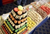 picture of food pyramid  - Handmade different colorful macarons pastries arranged in a pyramid. [[** Note: Shallow depth of field ** Note: Visible grain at 100%, best at smaller sizes - JPG