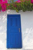 pic of greek-island  - An entrance to a traditional greek house in Santorini island - JPG