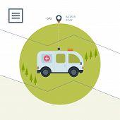 foto of ambulance  - Ambulance car icon in flat design style - JPG