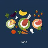 image of vegetable food fruit  - Set of flat design concept icons for food and restaurant - JPG